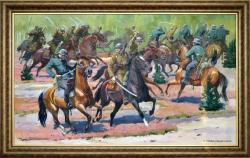 Pluton ppor. W. Szaniawskiego w walce z patrolem kawalerii niemieckiej w dniu 2 IX 1939r. Pyrzanowski Wieńczysław. 150x90cm